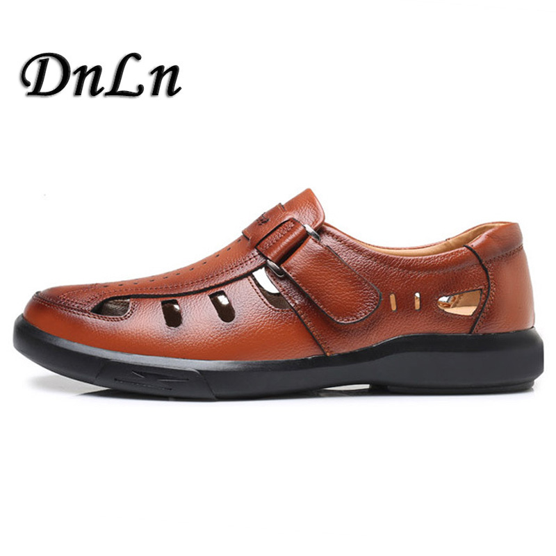 Genuine Leather Mens Sandals Closed Toe Sandals Outdoor Casual Men Leather Sandals For Men Men Beach Shoes D50