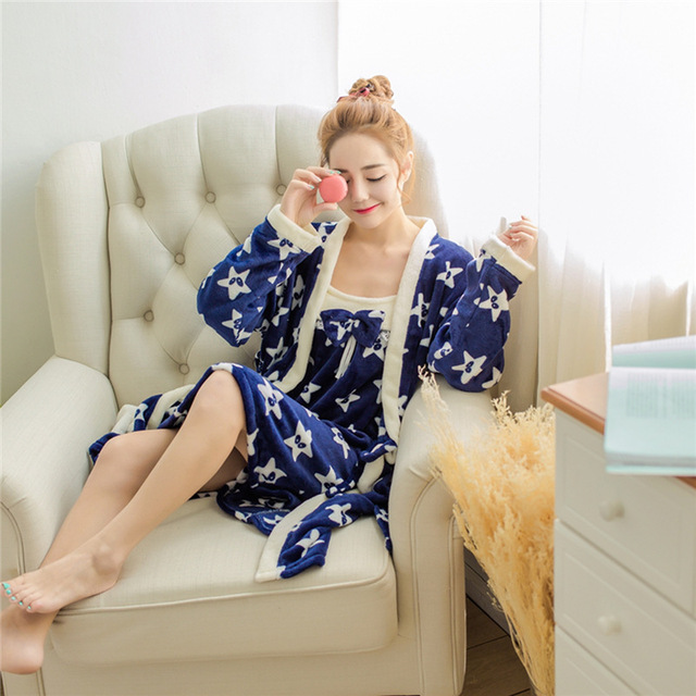 Coral Velvet Robe Sexy Winter Women Nightwear Long-sleeved Thick-sleeved Warm Flannel Robe Nightgown Set 2 Piece Plush Bathrobe
