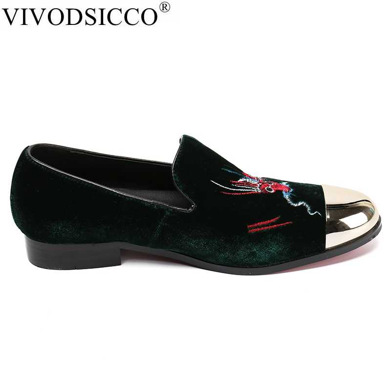 69a96ce4378a0 ... VIVODSICCO Green Velvet Slippers Men Loafers Velours Smoking Slip-on  Shoes Party and Wedding Dress ...