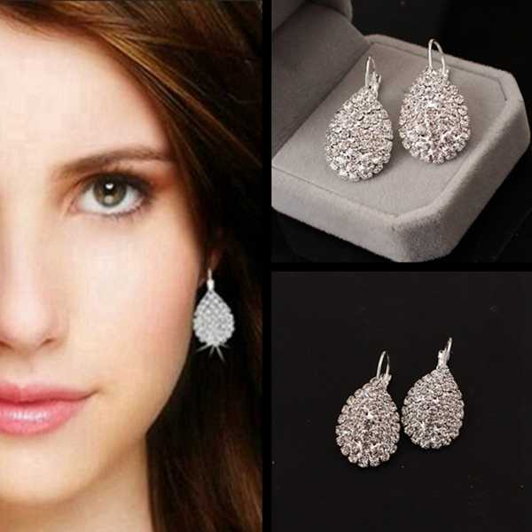 Fashion Bride Wedding Big Luxury Silver Color Water Drop Crystal Earrings for Women Girl Jewelry Hot Sale Brincos Oorbellen