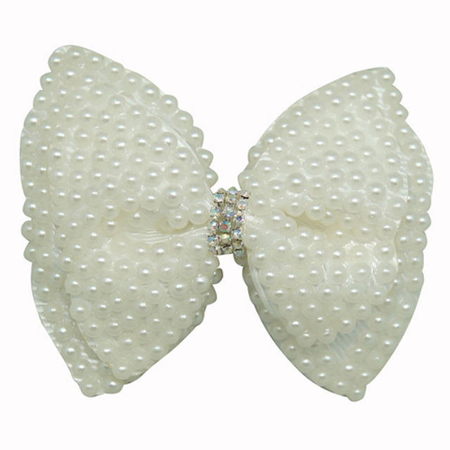 White Pearl Hair Bow Girls Boutique Hair Bows With Clip Rhinestone Hairpin Baby Pearl Hair Clip CNHBW-1411191