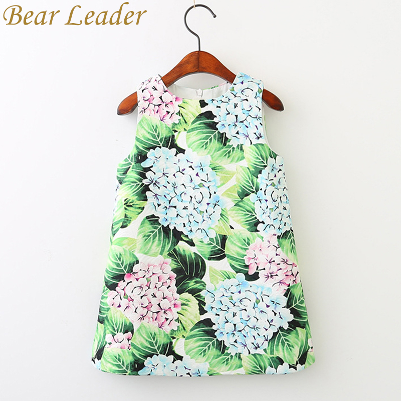 Bear Leader Girls Dress 2017 New Brand Girls Clothes European And America Style Hydrangea Flora Print Baby Girls Dress For 3-9Y