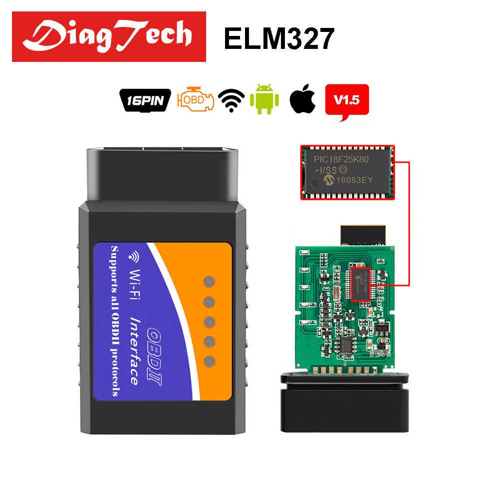 Original WIFI ELM327 V1 5 Real PIC18F25K80 Chip OBD2 Scanner Adapter  Diagnostic Tool ELM327 V 1 5 Wireless OBDII For Android/iOS
