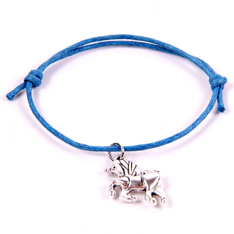 Teamer Korean Wax Cord Wrap Bracelet Adjustable Pendant Bracelets with Unicorn Charm Best Gift