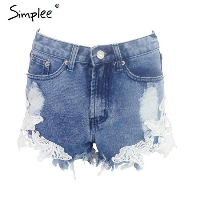 Simplee 2016 ripped pocket women shorts Summer casual denim shorts vintage hot shorts denim shorts for women