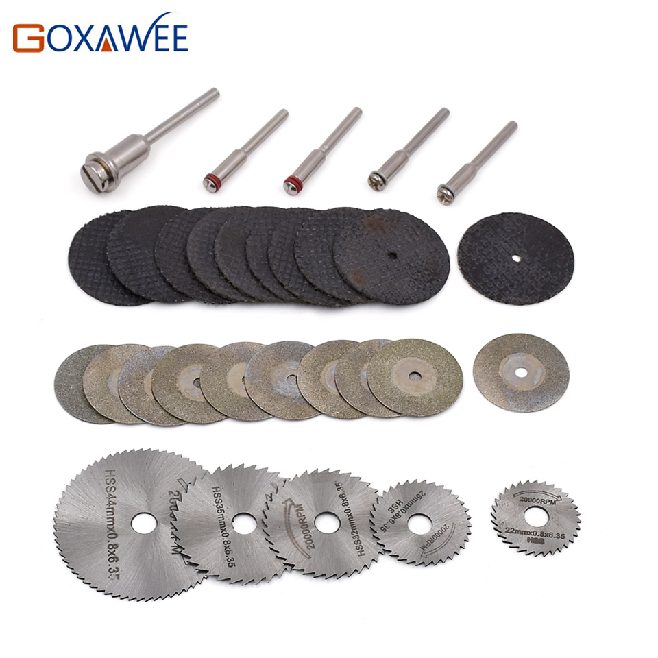 30pcs Dremel accessories HSS Circular Saw Blades Wood Metal Stone Cutting Saw Blade Discs with Mandrel for Dremel Rotary Tools 10 60 teeth wood t c t circular saw blade nwc106f global free shipping 250mm carbide cutting wheel same with freud or haupt
