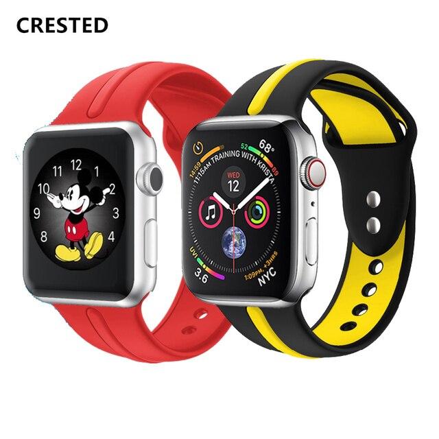 Хохлатый ремешок для apple watch band 4 44 мм 38 мм iwatch band 42 мм 40 мм спортивный силиконовый Корреа ремень ремешок для apple watch 4 3 2