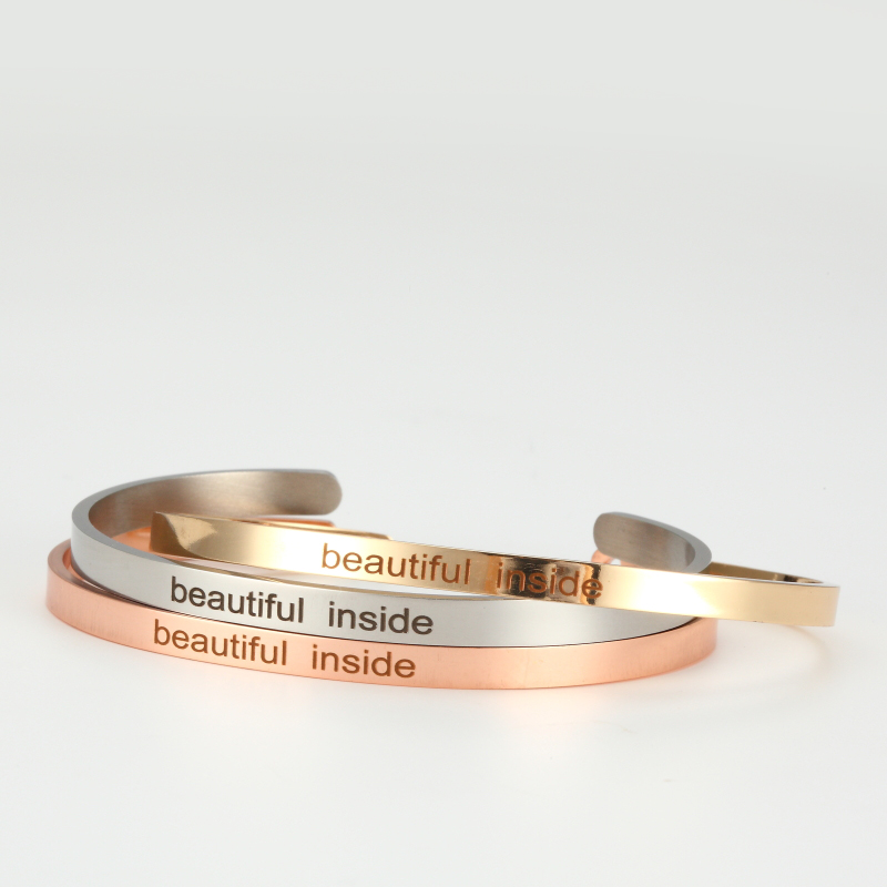 Beautiful inside Stainless Steel Bangle Engraved Positive Inspirational Quote fashion Cuff Mantra Bracelets For Women