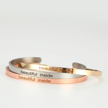 Beautiful inside Stainless Steel Bangle Engraved Positive Inspirational Quote fashion Cuff Mantra Bracelets For Women believe in your dream stainless steel bangle engraved positive inspirational quote cuff mantra bracelets for women
