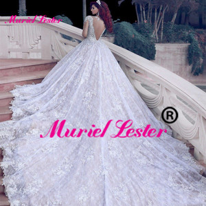 Image 3 - דובאי ערבית יוקרה נוצץ 2020 חתונה שמלות בלינג חרוזים כדור שמלה ואגלי אשליה חתונת שמלות כלה שמלות Brautkleid