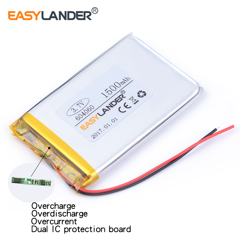 604060 3.7V 1500mAh Rechargeable li Polymer Li-ion Battery For MP3 MP4 gaming Mouse PSP DVR GPS Lampe speaker toys 603959 604159