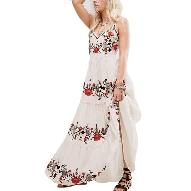 Maxi Cream Color Dress 2017 V Neck Vintage Floral Embroidered