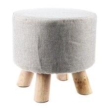 De lujo moderno de lujo tapizado taburete redondo taburete de PUF + patilla de madera patrón: tela redonda: gris (4 piernas)