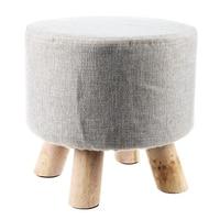 Modern Luxury Upholstered Footstool Round Pouffe Stool Wooden Leg Pattern Round Fabric Grey 4 Legs