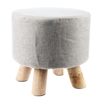Modern Luxury Upholstered Footstool Round Pouffe Stool Wooden Leg Pattern Round Fabric Grey 4 Legs