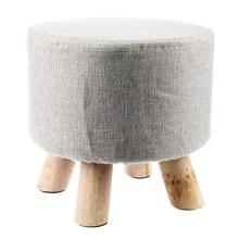 Nowoczesny luksusowy tapicerowany podnóżek okrągły pufa stołek + drewniany wzór nogi: obszycie dookoła: szary (4 nogi)