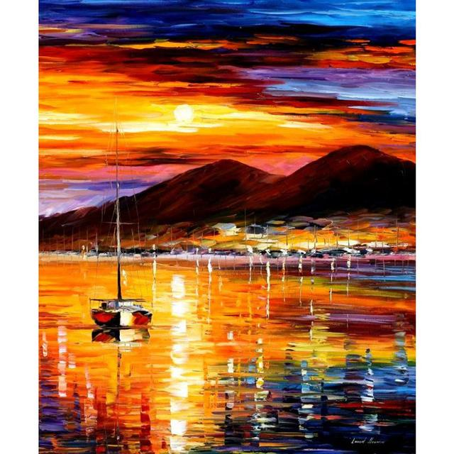 Large Framed Wall Art New York City Landscape Sunset: High Quality Hand Painted Landscape Oil Pictures Canvas