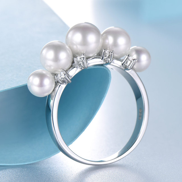 UMCHO 925 Sterling Silver Natural Freshwater Pearl Ring for Women Engagement Wedding Ring Love Party Fine Jewelry Wholesale