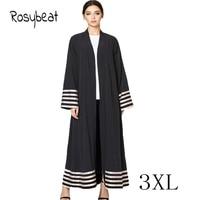 Big Size Autumn Ladies Muslim Dress Abaya Malaysia Islamic Long Black Vestidos Flare Sleeve Plus Size 3XL