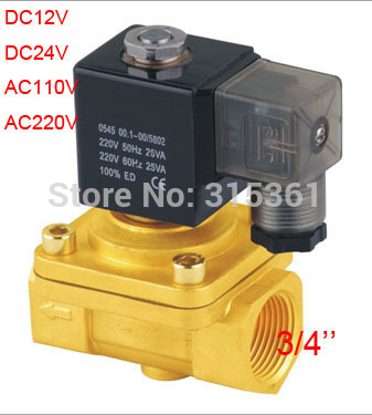 Free Ship 3 4 Thread Inch Brass Electric Air Gas Water Solenoid Valve PU220 06 Normally