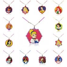 20PCS Lovely Princess Cartoon Necklace Pendant Chains PVC Choker Rope 51cm Fashion Charms Jewelry Kid Gift