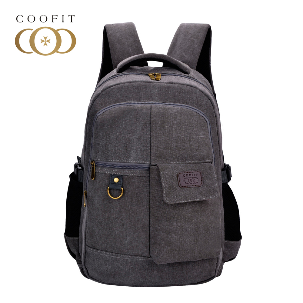 Coofit Large Capacity Men Canvas Laptop Backpack Casual School Bags For Teen Boys Travel Backpacks Male Notebook Rusksacks olidik laptop backpack for men 14 15 6 inch notebook school bags for teenagers large capacity 30l women business travel backpack