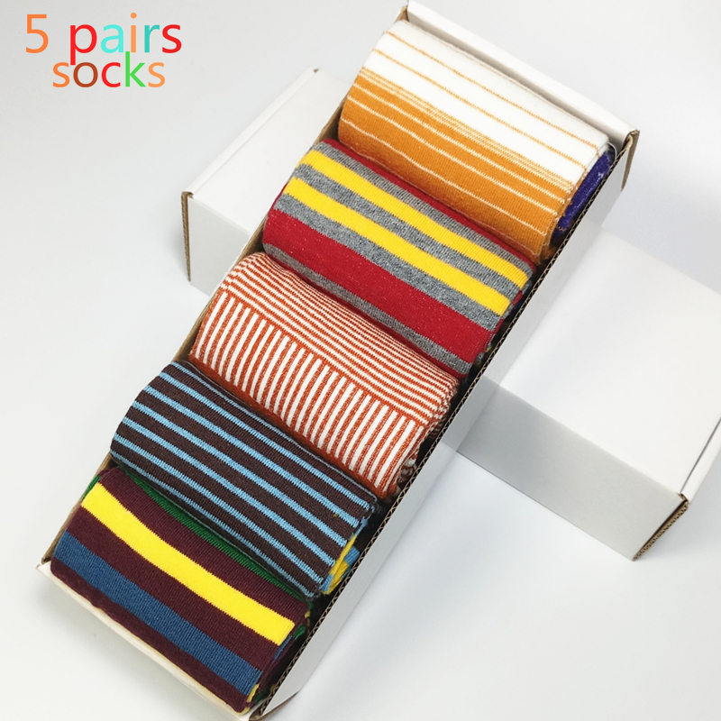 2017 Limited Mens Socks 5pair Fashion Men's Socks Color Striped Five Pairs Of Men And Last Design Designer Style Cotton No Box