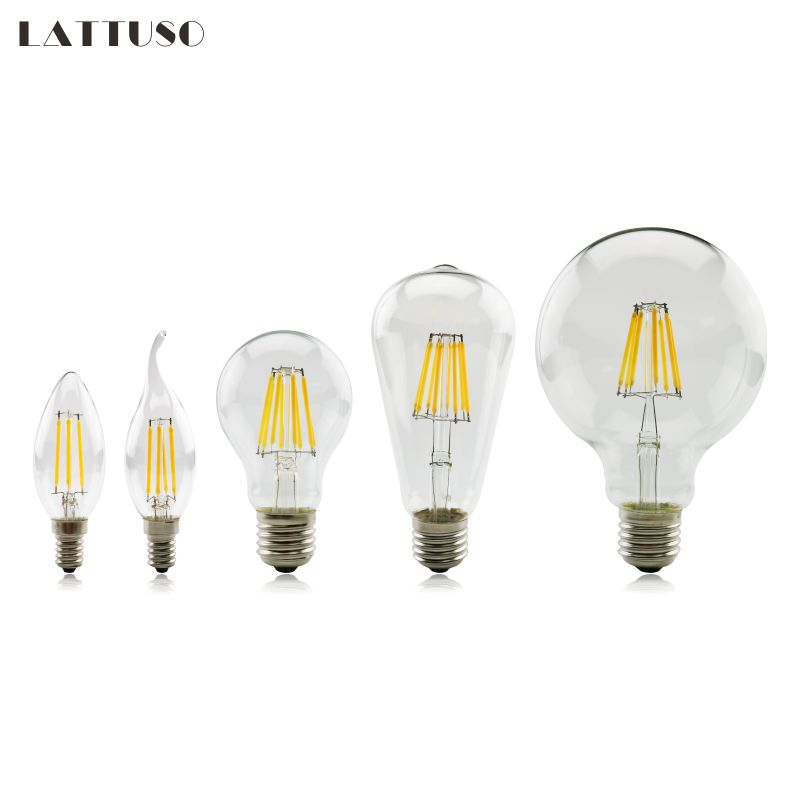 Led bulb E27 E14 2W 4W 6W 8W Vintage Edison lamp A60 ST64 C35 G45 G95 G125 AC220V transparent Glass Filament light Retro lamps 50pcs e27 b22 led bulb retro vintage edison st64 4w led filament glass light lamp warm white energy saving lamps light ac220v