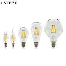 купить Led bulb E27 E14 2W 4W 6W 8W Vintage Edison lamp G45 A60 ST64 G80 G95 G125 AC220V transparent Glass Filament light Retro lamps по цене 105.51 рублей