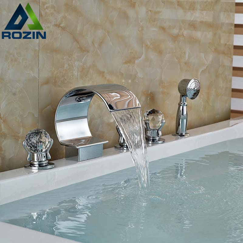 Deck Mount Waterfall 5pcs Bathroom Tub Filler Chrome Brass With Handshower Bathtub Mixer Faucet Chrome Finish