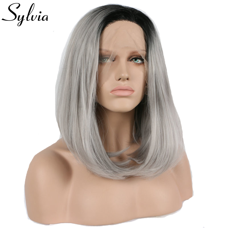 Sylvia silver grey 2T ombre color bob wigs with dark roots short straight glueless synthetic lace front wig resistant fiber hair