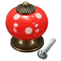 10pcs Retro Polka Dot Ceramic Door Knob Cabinet Cupboard Drawer Locker Handles Red