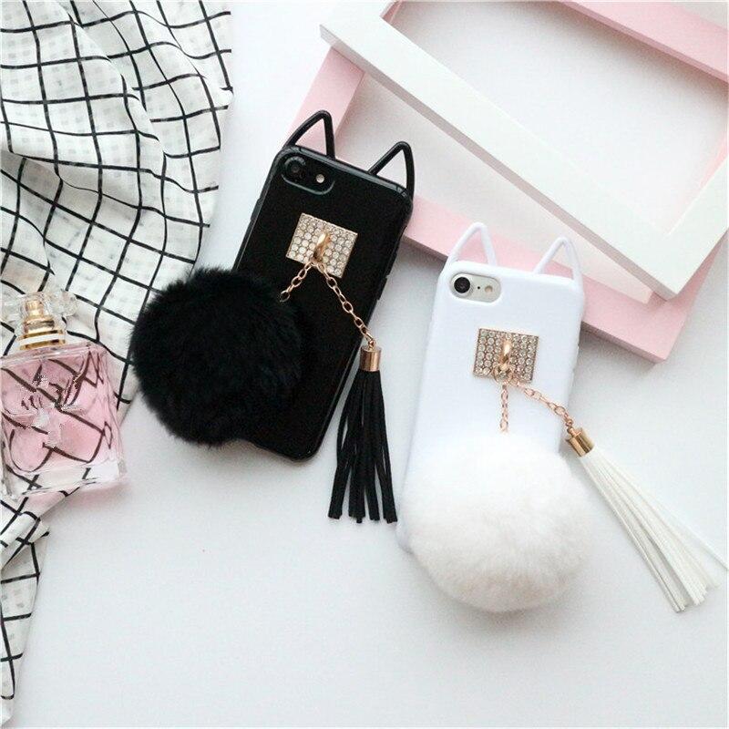 Black White Pendant For Iphone 8 Plus Case Luxury Leather For Iphone 8 Plus Case Cute Mobile Phone Bags Cases plush