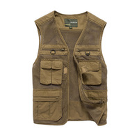 SHOWERSMILE Brand Travel Vest Photography Clothing Summer Shooting Mesh Vest With Pockets Journalist Military Reporter Waistcoat