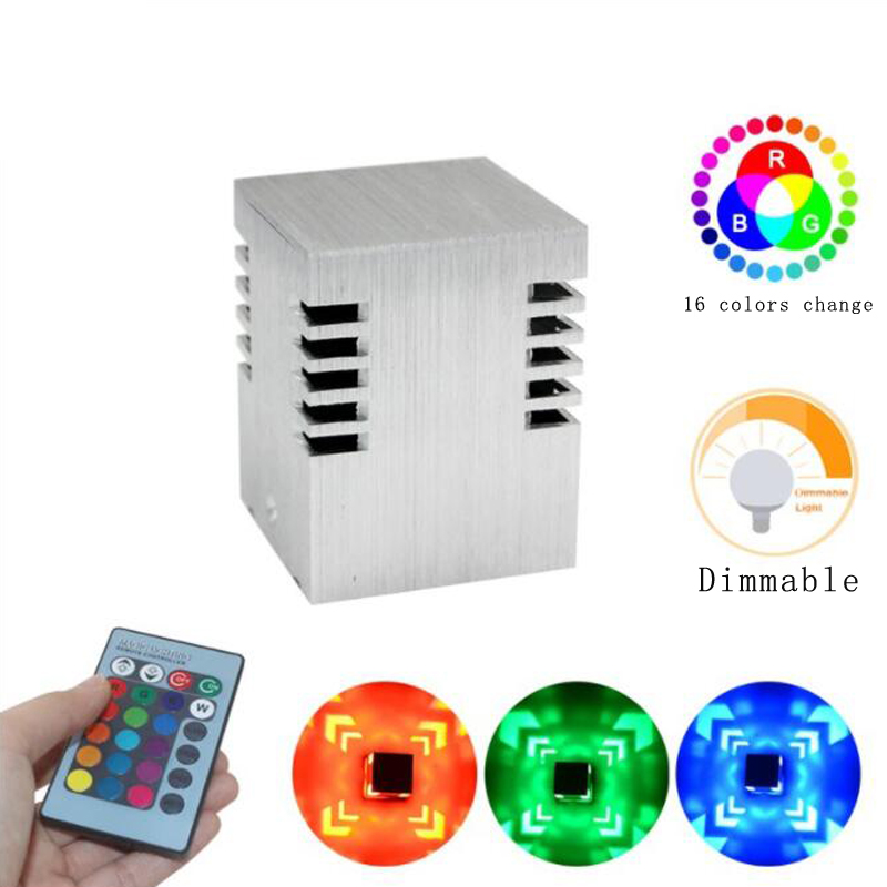 AC85-260V Square <font><b>Led</b></font> Wall Lamp 16 Colors Change 3W Dimmable <font><b>Cube</b></font> Lamp With Remote Control Mini Light For Game Room Bar image