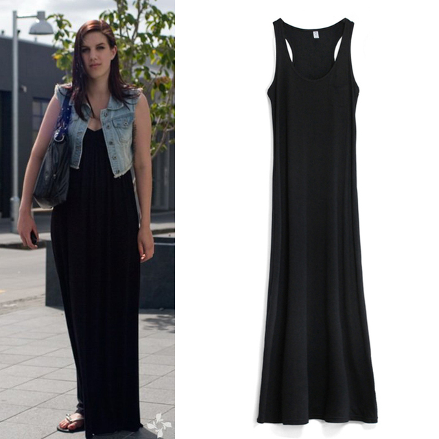Comfortable vest one-piece dress mopping the floor dress full picture of details