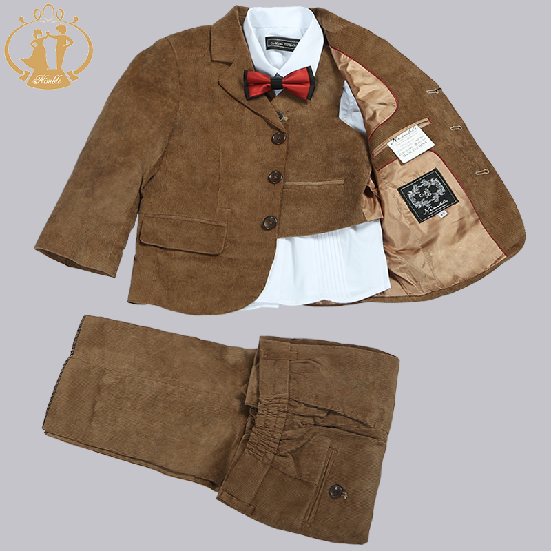 Nimble Boys Suits for Weddings Kid Brown Corduroy Blazers for Boys Kid Clothes Boys Prom Suits
