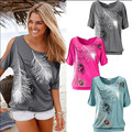 Women Summer T-shirt Cotton&Spandex Short Sleeve Feather Printing Leisure Lady Tops Shirt Shoulder hollow