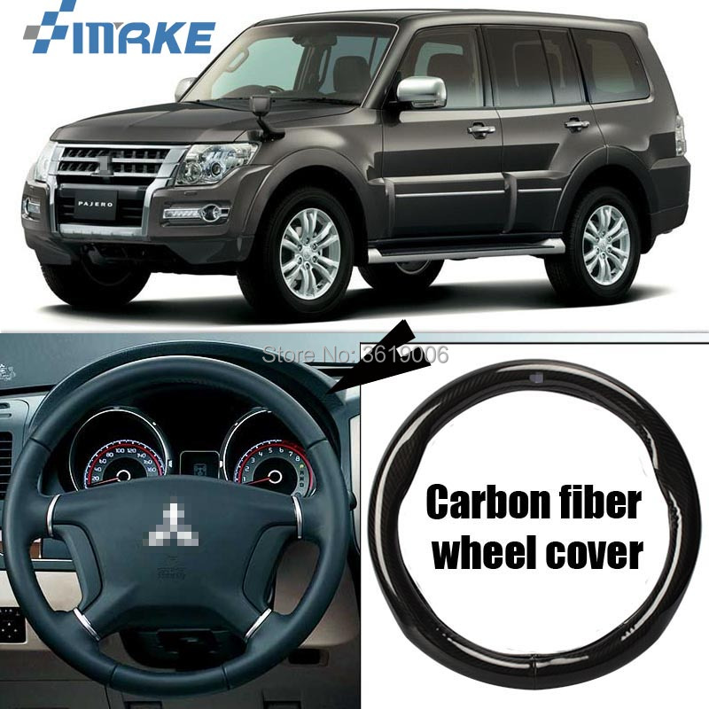 smRKE Car Accessories For Mitsubishi Pajero Black Carbon Fiber Leather Steering Wheel Cover Sport Racing Car Styling