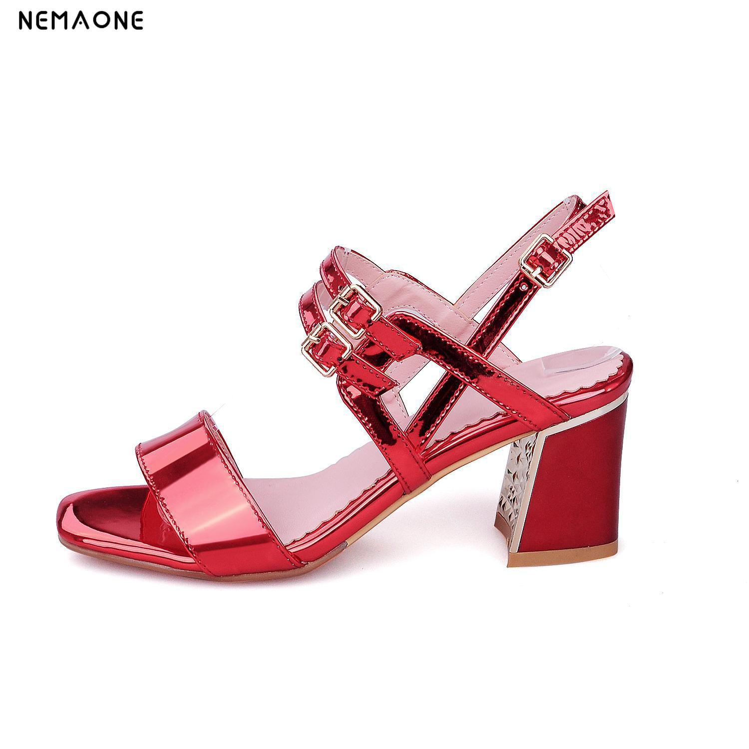 NEMAONE New 2017 Sexy buckle Women Sandals Square Heel Slip-On Sandals Summer Shoes Woman High Heel Sandals new women sandals low heel wedges summer casual single shoes woman sandal fashion soft sandals free shipping