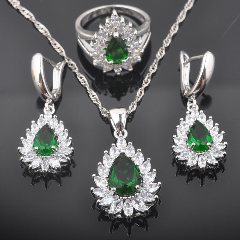 Hochzeits- & Verlobungs-schmuck Fahoyo Aaa Qualität Green & White Zirkonia Frauen 925 Sterling Silber Schmuck Sets Ohrringe/anhänger/halskette/ringe Qz0392 100% Original