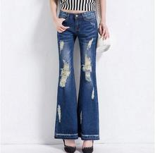 Новые Моды для женщин джинсовые Брюки Джинсовые Брюки Рваные Джинсы Для Женщин джинсы Отверстие