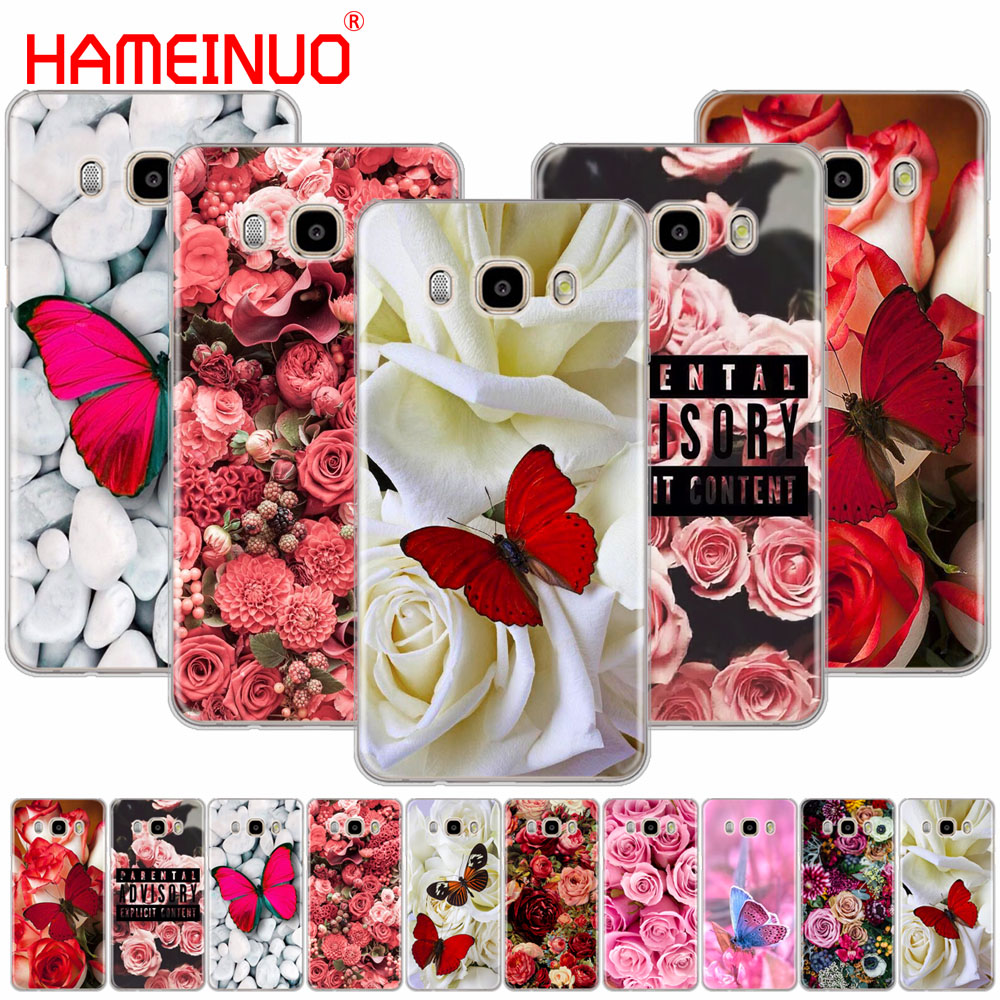 HAMEINUO Red <font><b>butterfly</b></font> on white roses flower cover phone <font><b>case</b></font> for <font><b>Samsung</b></font> <font><b>Galaxy</b></font> J1 J2 J3 <font><b>J5</b></font> J7 MINI ACE 2016 <font><b>2015</b></font> prime image