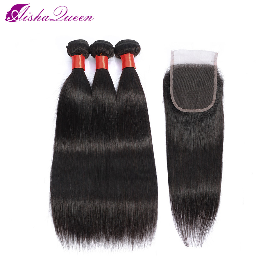 Aisha Queen Straight Bundles With Closure Brazilian Hair Weave Bundles Human Hair Bundles With Closure Non
