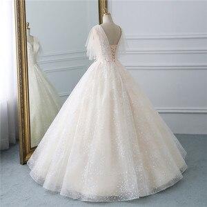 Image 3 - Fansmile vestido de boda de tul, Vintage, de fiesta de princesa, encaje de calidad, de talla grande, para novia, FSM 519F, 2020
