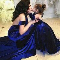 Современный Королевский синий бархат вечернее платье Русалка Длина пола вечернее торжественное платье Мать и Дети Платья Vestidos De Noiva