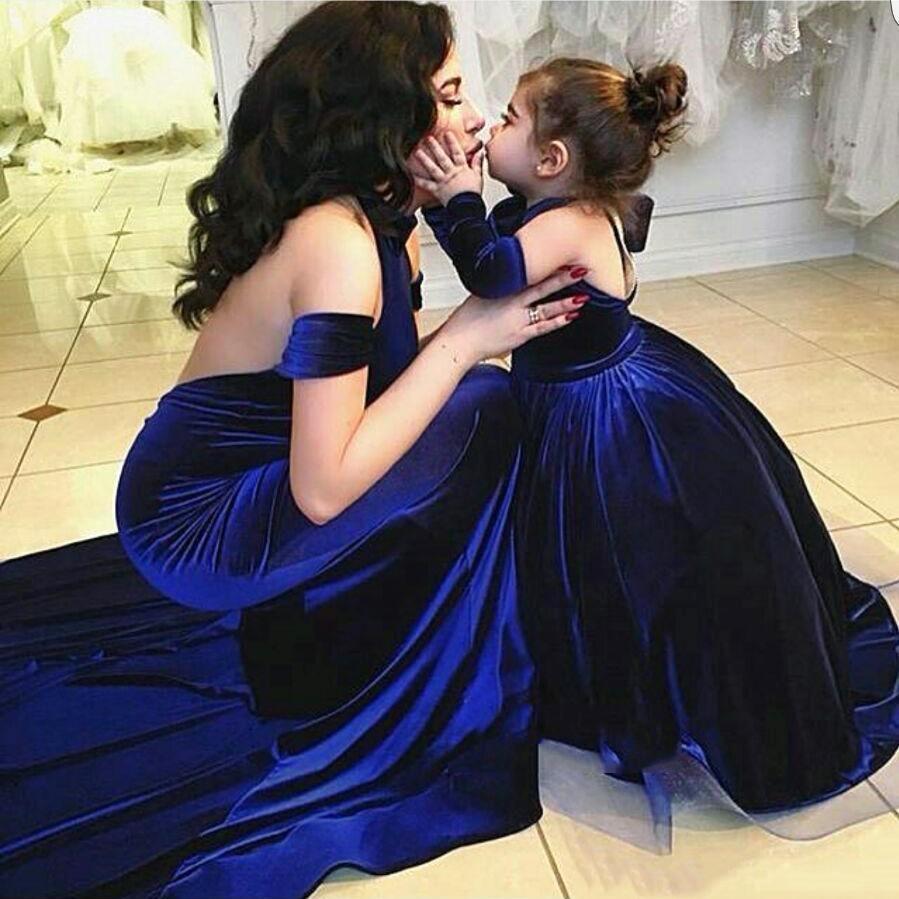 Modern Royal Blue Velvet   Evening     Dress   Mermaid Floor Length   Evening   Formal   Dress   Mother and Children   Dresses   Vestidos De Noiva