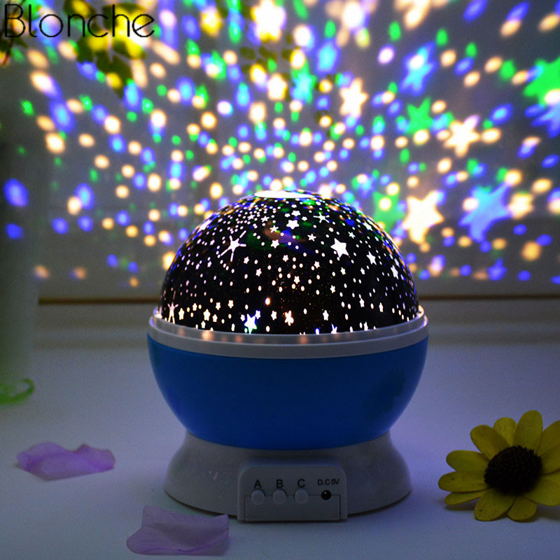 Rotating Star Moon LED Night Light Projector Novelty Luminaire Table Night Lamp Kids Baby Nursery Lights USB Battery Lamp Gifts