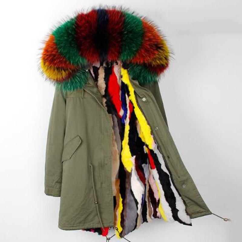 Натуральный мех парка зимняя Для женщин куртка теплые длинные военные парка Реальные Кролика Рекс Меховая подкладка капюшон пальто из нату