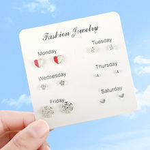 6 Pairs/set, 2019 New Earrings for Women Stars Heart Crystal Cute Earrings Fashion Jewelry Monday To Saturday 6 Pairs Earrings(China)